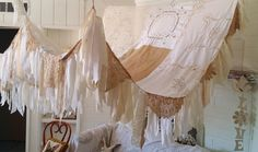 Shabby chic curtain Made To Order boho bedroom decor, HippieWild, gypsy bedroom decor, white bed canopy,antique linens bedroom