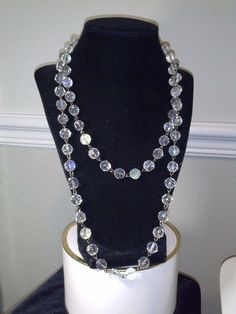 ANTIQUE CRYSTAL Necklace STRAND CRYSTALS ROPE FACETED CIRCA 1900s LONG LARIAT…