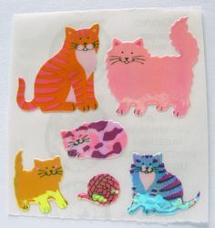 Vintage Sandylion Pearly Pearl Opal MOP Cats Kittens Stickers 80's Persian Tabby