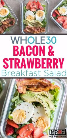 Whole 30 Salad recipe - Bacon & Strawberry Breakfast Salad - The usual suspects at breakfast make an appearance in this healthy arugula salad. Top this off with a creamy tahini green goddess dressing, or use your favorite Whole 30 approved salad dressing. Strawberry Breakfast, Breakfast Salad, Breakfast Recipes, Dinner Recipes, Paleo Breakfast, Breakfast Ideas, Brunch Recipes, Ketogenic Breakfast, Whole 30 Salads
