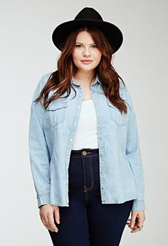 Classic Chambray Shirt | Forever 21 PLUS - 2000099088