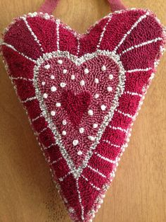 Primitive Punch Needle Heart by joposie on Etsy