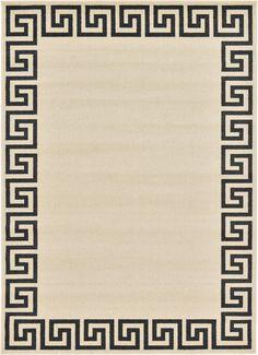 Unique Loom Modern Athens Area Rug (Beige/Black - X (Polypropylene, Geometric) Round Area Rugs, Modern Area Rugs, Navy Blue Area Rug, Beige Area Rugs, Greek Pattern, Synthetic Rugs, Greek Key, Border Design, Athens