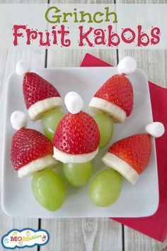 Grinch fruit kebabs