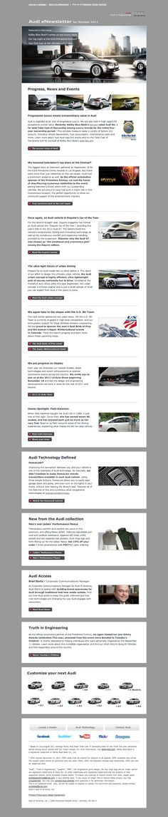 Audi eDM Layout - Great example of knowing your target market and keeping it clean, corporate and classy!