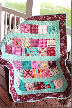 Girls in the Garden: Aqua Baby Quilt