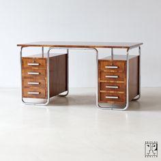 Tubular steel desk by Rudolf Vichr