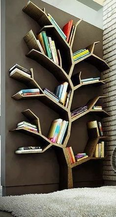 Tree Bookshelf/ Room Decoration + useful Tree Bookshelf, Cool Bookshelves, Bookshelf Ideas, Tree Shelf, Bookshelf Design, Bookcases, Tree Wall, Tree Book Shelves, Diy Bookshelf Wall