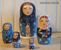 Купить Матрешка - синий, сувениры, русский стиль, русский сувенир, ручная работа handmade