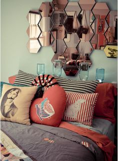 honeycomb mirrors and lots of pillows!