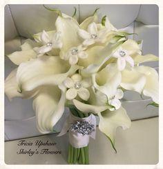 White mini calla bouquet with stephanotis.