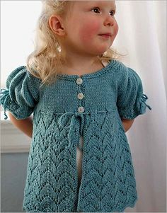 My favorite Summer knitting pattern - Summer Pelisse by Rene Dickey. Halfway between a coat and a sweater, this pattern captures the Victorian custom of layering and delicate openwork. Baby Cardigan, Toddler Cardigan, Sweater Cardigan, Striped Cardigan, Knitting Daily, Summer Knitting, Knitting For Kids, Classic Elite Yarns, Knit Baby Sweaters