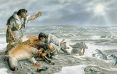 Gilles Tosello - Reconstruction of a Paleolithic scene based on archaeological evidence from Maisons-Alfort