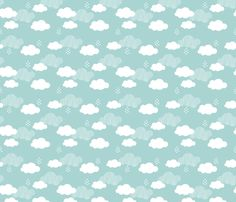 Sweet dreams scandinavian clouds for kids blue gender neutral fabric - surface design by Little Smilemakers Studio on Spoonflower - custom fabric and wallpaper inspiration for kids clothes fun fashion and trendy home decorations.