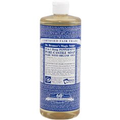 Dr. B's castille soap, great for the environment and doesn't cause soap scum