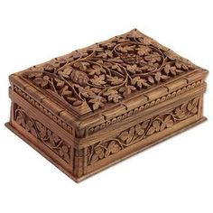 NOVICA Hand Carved Indian Walnut Wood Jewelry Box with Leaf Pattern