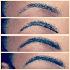 Brow filling technique: Draw a line at the base of the brow using GEL eyeliner & brush it into brows using an angled brush.