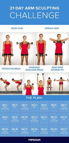 Choose an appropriate size dumbbell (three to eight pounds) and follow the plan above. Every other day is a rest day to give your muscles a chance to rebuild and become stronger.