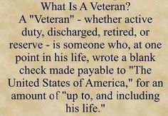 Thank you  and God Bless to all the vets out there.