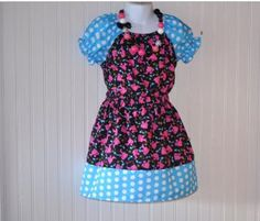 Custom Boutique Clothing Barbie Tiered Skirt And Top Turquoise  Polka Dots by pageantwear for $39.95
