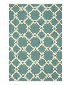 Loving this Turquoise & Ivory Ventura Indoor/Outdoor Rug on #zulily! #zulilyfinds