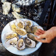 Grilled Oysters with Butter Sauce (Huîtres Grillées au Beurre Blanc) Recipe… Seafood Dishes, Fish And Seafood, Seafood Recipes, Appetizer Recipes, Appetizers, Cooking Recipes, Grilled Oysters, Raw Oysters, Oyster Recipes