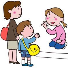 保育園・幼稚園にて 保育士・先生と 朝、お迎えの挨拶 笑顔で手を振る イラスト