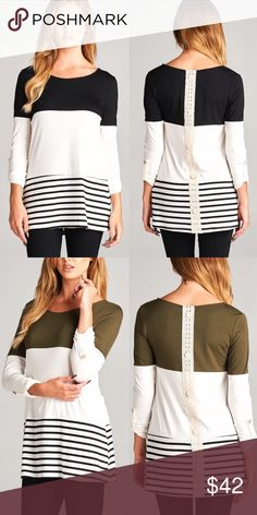 🆕MEAGAN striped 3/4 sleeve top - BLACK 3/4 Sleeve solid & stripe round neck tunic top. Features lace crochet button back detailing. Super soft and comfy. Fits true to size.  AVAILABLE IN OLIVE & BLACK Fabric 96% Modal 4% Spandex Made in USA 🚨NO TRADE, PRICE FIRM🚨 Bellanblue Tops