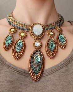 """""""Treasure of Atlantis"""", features moonstone, swarovski crystals and paua shell, by Natasha Shcherbakova,"""