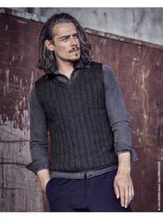 Strickanleitung für einen coolen Männer-Pullunder mit V-Ausschnitt aus Merinowolle, Pullover stricken / knit pattern for casual slipover for men in merino via lanagrossa.de