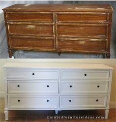 before and after pictures of 6 drawer dresser painted with with black knobs.