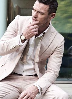 Luke Evans photographed by Alan Clarke for August...
