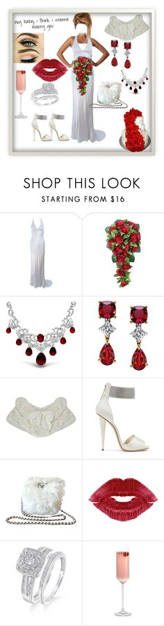 """I Think I Want To Marry You"" by gigiglow ❤ liked on Polyvore featuring Monique Lhuillier, Giuseppe Zanotti, Prada and Gerber"