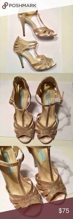 Betsey Johnson Gold glitter shoes size 5 Betsey Johnson Gold glitter shoes size 5 super cute gold glitter shoes by Betsey Johnson size 5 with a cute little heart and the bottom Betsey Johnson Shoes