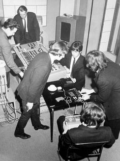 """The Beatles were very early users of cassette recorders, which in 1965 were not widely available. They are seen here making recordings to listen to at home of songs they have just worked on for inclusion on 'Help!'"" - The Beatles: The BBC Archives 1962-1970"
