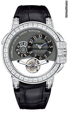 Harry Winston Ocean Tourbillion Grey Dial Black Leather 18kt White Gold Diamond…