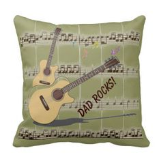Dad Rocks! Music & Guitars Square Throw Pillow by MoonDreams Music #pillow #dadrocks #guitars #music #moondreamsmusic #mancave #dad #FathersDay