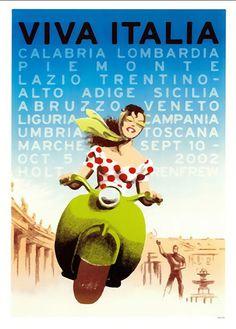 Vintage Poster - Travel Viva Italia Italy  scooter