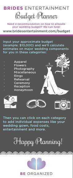 Wedding on a budget? Use the Brides Entertainment Budget tool You - wedding budget estimates