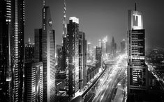 Télécharger fonds d'écran 4k, Dubaï, monochrome, les paysages nocturnes, les paysages urbains, les ÉMIRATS arabes unis, Émirats Arabes Unis