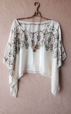 Free People top tunic rare cape sleeve blue floral embroidery kaftan
