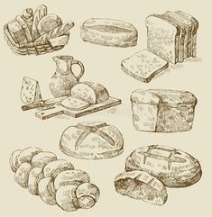 Illustration about Set vector vintage hand drawn of bread. Illustration of food, illustration, meal - 23838156 Ink Pen Drawings, Drawing Sketches, Sketching, Pudding In A Mug, Arte Grunge, Bread Packaging, Bread Art, Food Sketch, Food Patterns