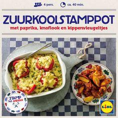 Recept voor Zuurkoolstamppot met paprika, knoflook en kippenvleugeltjes #Stamppot #Lidl
