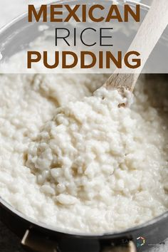 This Mexican Rice Pudding (Arroz con Leche) is ultra creamy and infused with van. - This Mexican Rice Pudding (Arroz con Leche) is ultra creamy and infused with vanilla and hints of c - Crockpot Rice Pudding, Best Rice Pudding Recipe, Creamy Rice Pudding, Keto Pudding, Chia Pudding, Authentic Mexican Recipes, Mexican Food Recipes, Sweet Recipes, Easy Sweet Rice Recipe