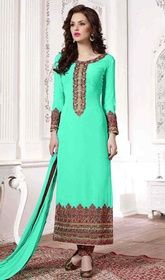 Green Color Georgette Embroidered Pant Style Suit #embroideredpantstylesuit #2017indiansuits Exceptional craftsmanship of embellishments exhibited in this green color georgette embroidered pant style suit. That you can see some interesting patterns performed with floral patch, lace and resham work.  USD $ 84 (Around £ 58 & Euro 64)