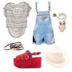 Te unís a la tribu? #EstiloMVD Blusa Lemon, pulseras, colgante y sombrero de Spirale, zapatos y enterito de Magma.