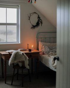 my daughters bedroom enjoys the best light in the house at this time of year, so i've hauled her table in front of the window Love Your Home, My Dream Home, Interior Exterior, Interior Design, Creative Kids Rooms, Attic Bedrooms, Slow Living, Cozy Bed, Architecture