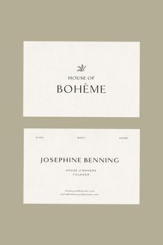The House Of Bohème - Stories Studio Typography Logo, Typography Design, Branding Design, Collateral Design, Logos, Minimal Business Card, Business Card Design, Business Cards, Letterhead Design