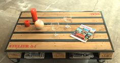 """table basse palette métal (et tasseau peint en noir imitation métal) + voir vidéo TUTO en tapant les mots clés : """"du cote de chez vous faire sa table basse palette"""""""