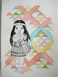 cute graphic watercolour - love how picture in middle is not painted
